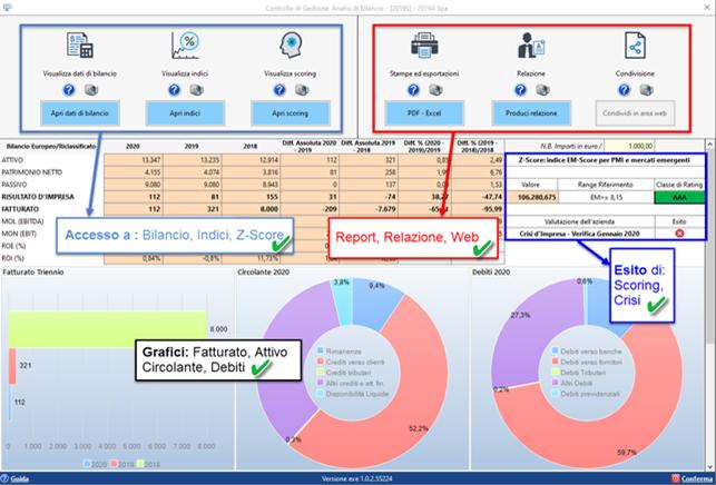Analisi di Bilancio sintetica - Dashboard riepilogativa dei dati