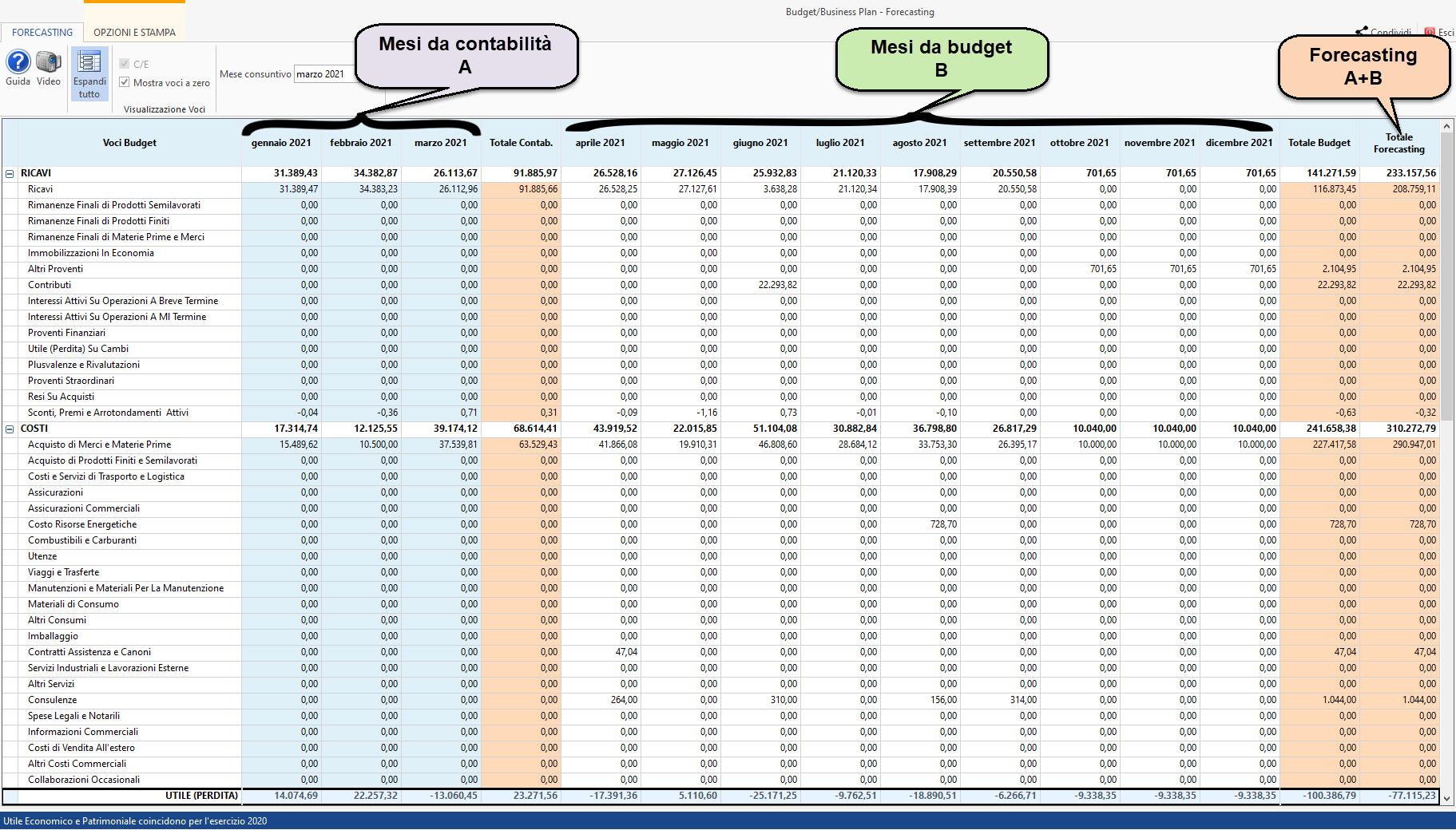 Controllo di Gestione: disponibile Budget e Business Plan: analisi del forecasting