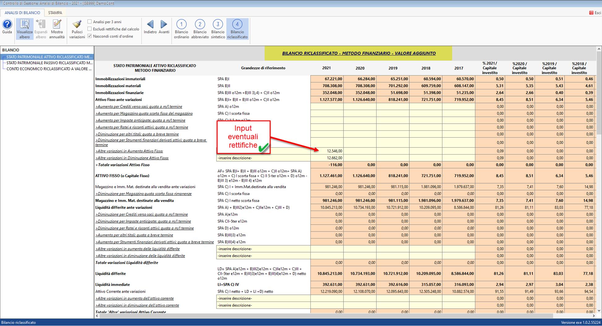Analisi di Bilancio sintetica: applicazione disponibile: sezione bilanci riclassificati